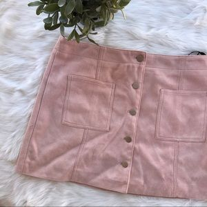 Forever 21}• pink fax suede skirt